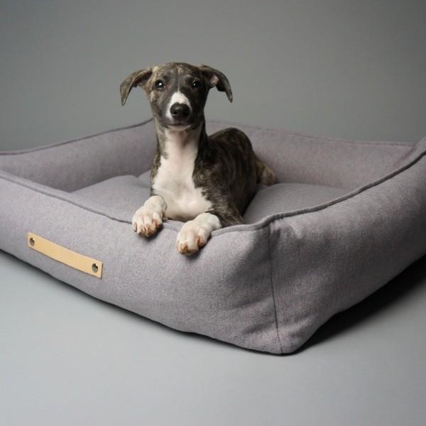 Durable designer dog bed light grey