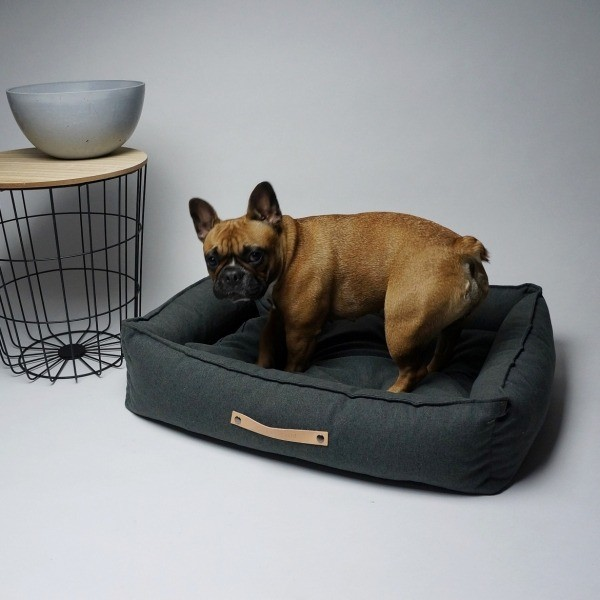 Durable designer dog bed dark grey