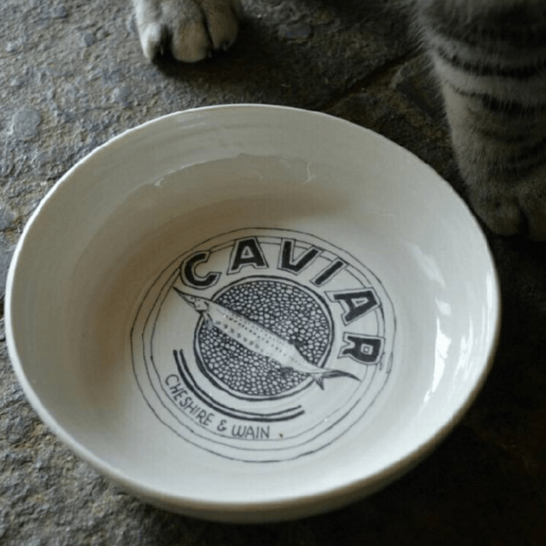 Hand thrown porcelain cat bowl