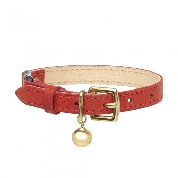 Cat collar red leather with safety breakaway clip 13