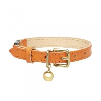 Cat collar orange leather with safety breakaway clip 11