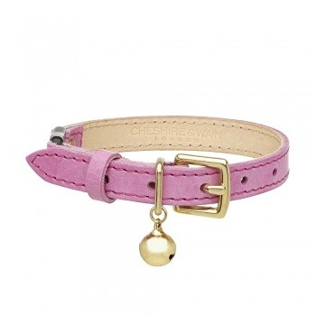 Cat collar pink leather with safety breakaway clip 9