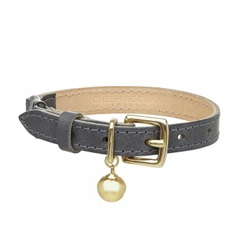 Cat collar grey leather with safety breakaway clip 4