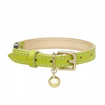 Cat collar lime green leather with safety breakaway clip 2