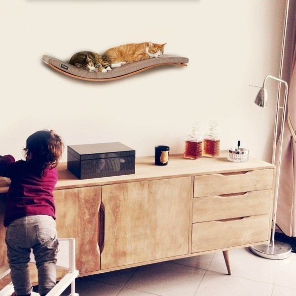 Wall-mounted wave cat shelf Deluxe