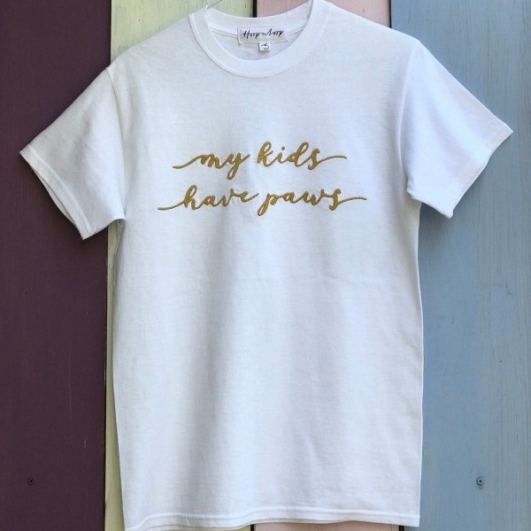 Embroidered white t-shirt My Kids Have Paws 1
