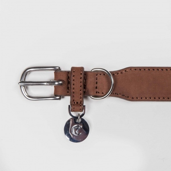 Waxed brown leather dog collar 3