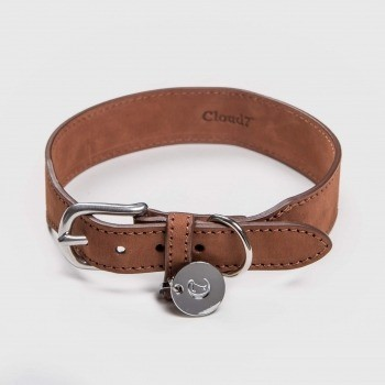 Waxed brown leather dog collar