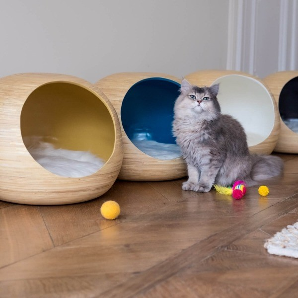 White bamboo cat ball 2