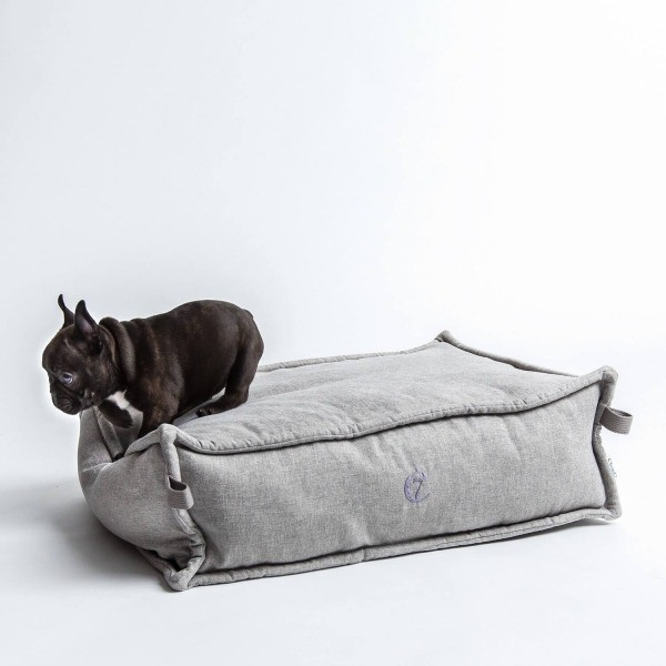 Light grey elevated dog bed Cozy