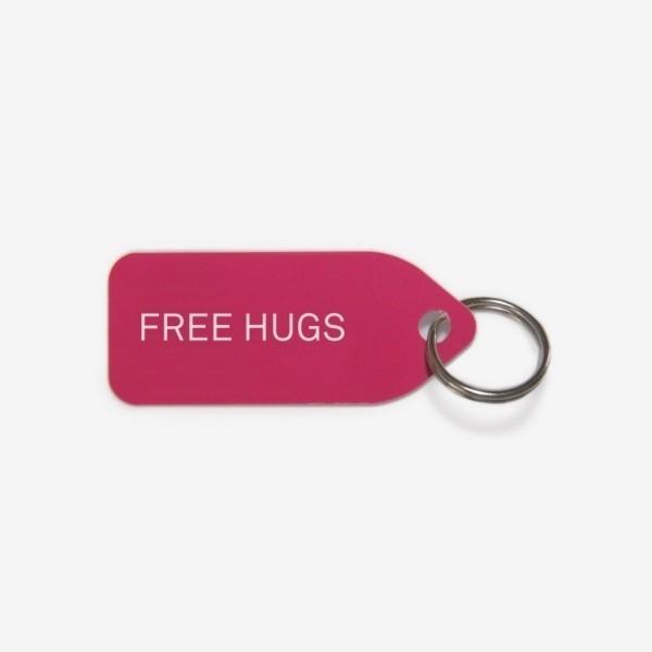 Pink dog collar tag | Free hugs