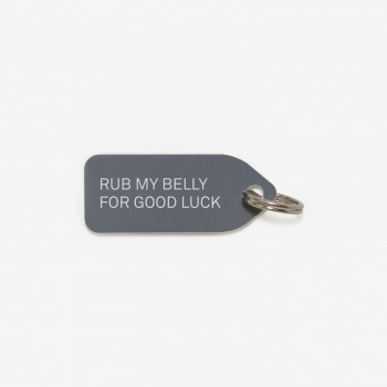 Rub My Belly for Good Luck dog collar tag Growlee | 4 colours - Grey