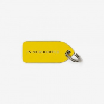 Grey dog collar tag | I'm Microchipped