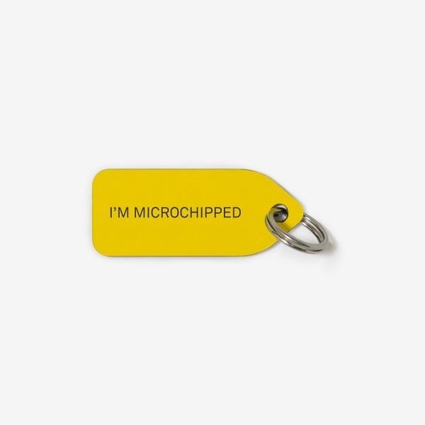 Grey dog collar tag | I'm Microchipped
