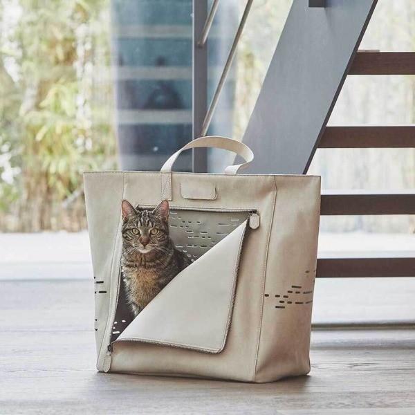Luxurious tan coloured suede cat carrier Tosca | Make them Roar 2