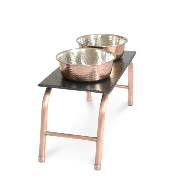 Copper and slate dog feeding station