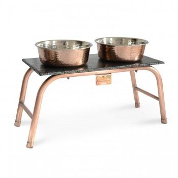 Copper and slate dog feeding station
