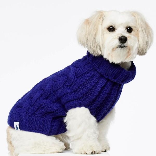 Blue cashmere and merino wool luxury dog jumper