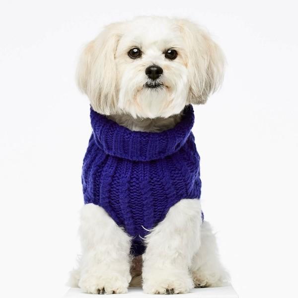 Blue cashmere and merino wool luxury dog jumper 1