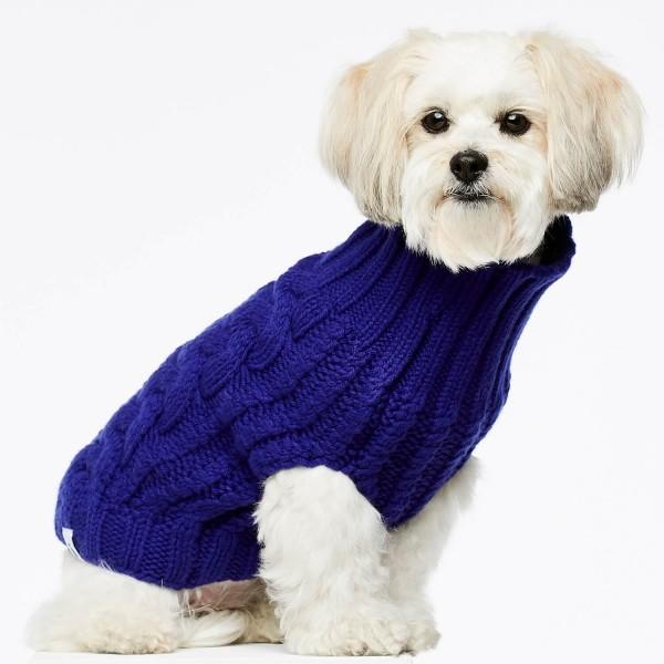 Blue cashmere and merino wool luxury dog jumper 2