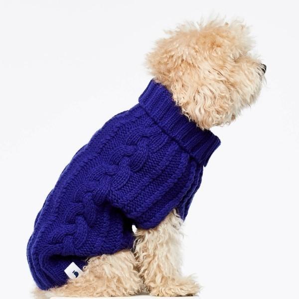 Blue cashmere and merino wool luxury dog jumper 3