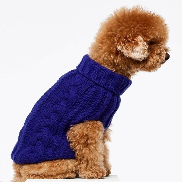 Blue cashmere and merino wool luxury dog jumper 5