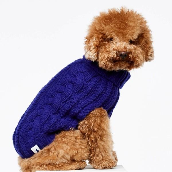 Blue cashmere and merino wool luxury dog jumper 6