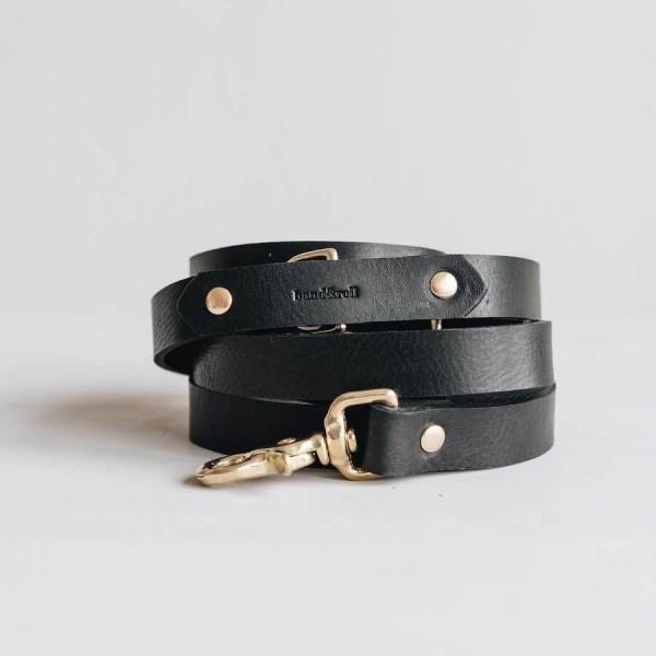 Black hands-free leather lead LASSO