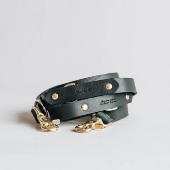Green hands-free leather lead LASSO