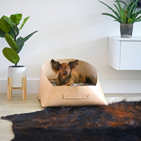 Luxurious designer leather dog bed