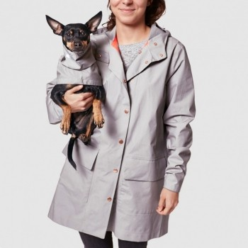 Light grey dog walking raincoat LONDON