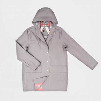 Light grey dog walking raincoat | London