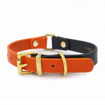 Leather two-tone dog collar ORAGNE & NAVY