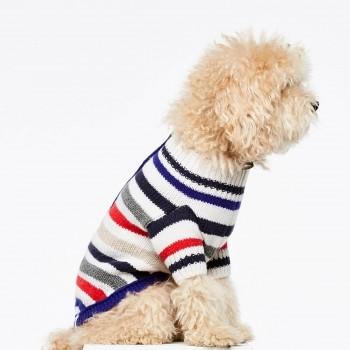 Multistripe cashmere & merino wool dog jumper ROSEMARIE