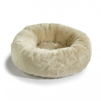 MiaCara Lana faux fur doughnut cat bed