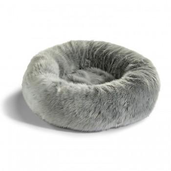 MiaCara Lana faux fur doughnut cat bed