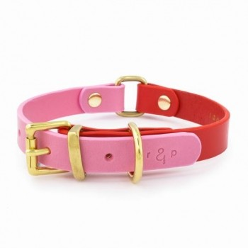 Leather two-tone dog collar RED & PINK