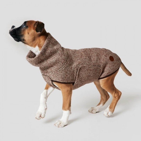 Windproof brown knit & jersey dog jumper DORSET