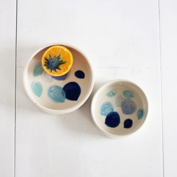 Ceramic dog food and water bowl BIG BLUE DOTS