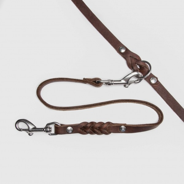 Brown leather lead coupler for two dogs RIVERSIDE
