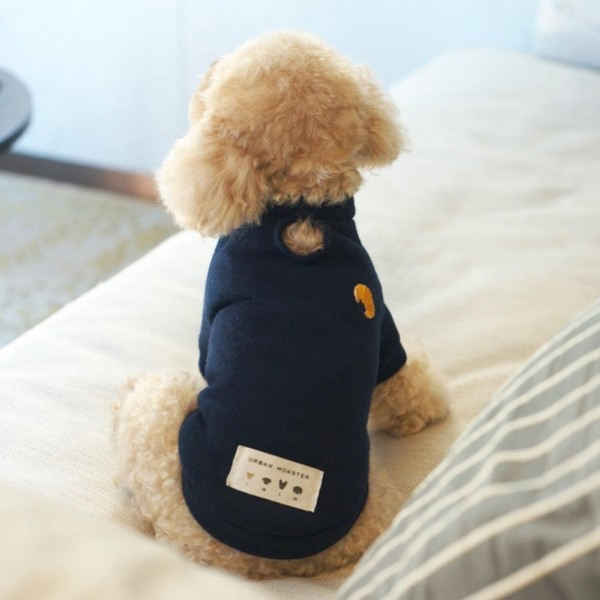 Embroidered cotton and fleece dog jumper CROISSANT