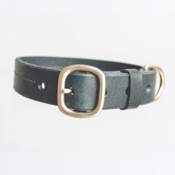 Green leather collar with customisable tag FIR