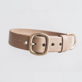 Latte leather collar with customisable tag FIR