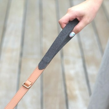 Grey fabric and leather lead PREPPY
