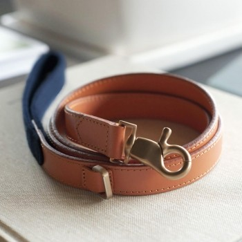 Blue fabric and leather lead PREPPY