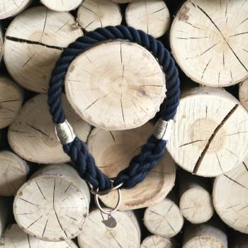 Navy rope collar with elegant hardware RUFF