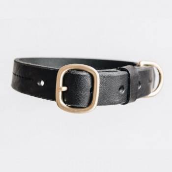 Black leather collar with customisable tag FIR