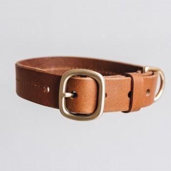 Tan luxurious leather collar with taf FIR