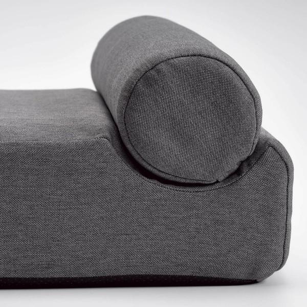 Grey geometric memory foam dog bed ROUND - Medium 90cm x 60cm x 22cm