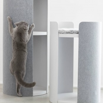 MiaCara Torre modern large cat scratching tower GREY